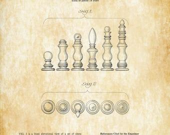 Chess Piece Set Patent Print - Game Room Decor, Game Night, Board Game Patent, Game Room Art, Vintage Games, Game Patent, Chess Set Patent