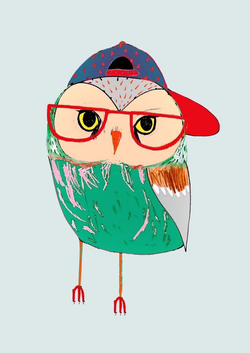 Illustration art print owl poster kids print. Owl Kid.