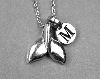 Small Whale Tail Fin Charm Necklace silver plated pewter, initial necklace, initial hand stamped, personalized, monogram