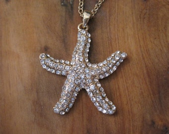 Gold Rhinestone Starfish Necklace - Gold Starfish Necklace