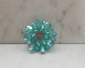 Vintage Crystal Pin/Brooch Seafoam