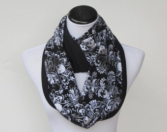 Halloween scarf Skulls Damask scarf Halloween skulls infinity scarf black Gothic reversible scarf jersey knit scarf gift for Gothic girl
