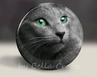Gray Cat - Magnet or Pin, or Pocket Mirror, 2.25 Inch Size Pinback Buttons, Fundraiser, Community, Home Decor, Party Favors, Bookbag Flair