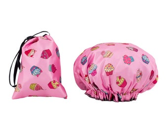 Dilly's Collections Cupcakes Waterproof Shower Caps Matching Satin Bag Travel Accessories Hair Protection Universal Size