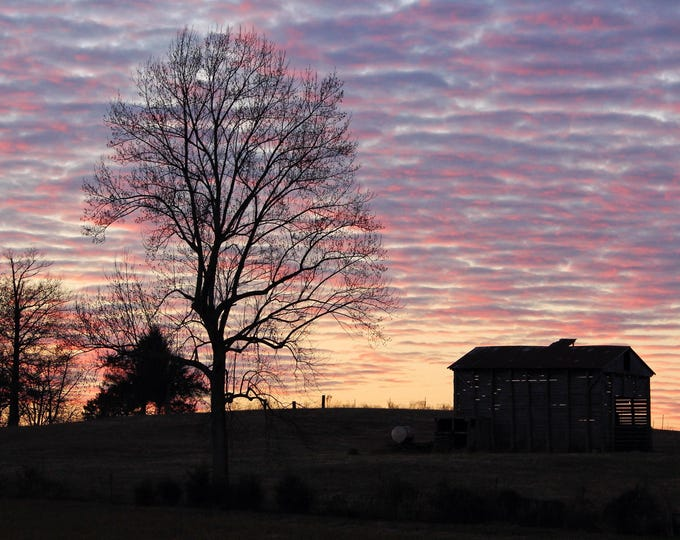 Photography, Landscape Print, Title: Colorful Sunset Over The Farm