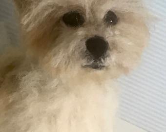 Custom Needle Felt Dog 15cm
