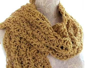 Handknitted scarf for women  mustard yellow -- flowers--Soft and cozy-  100percent Cotton--christmas gift--Valentine's Day
