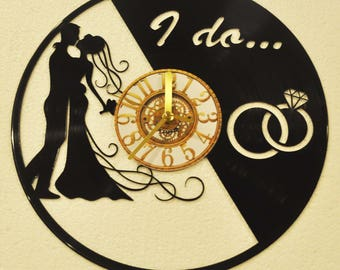 Customizable Wedding Marriage bride and groom themed Vinyl Album Record Clock made in the > USA < with FREE Shipping!