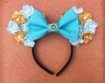 Disney Jasmine Blue and Gold Floral Minnie Mouse Ears