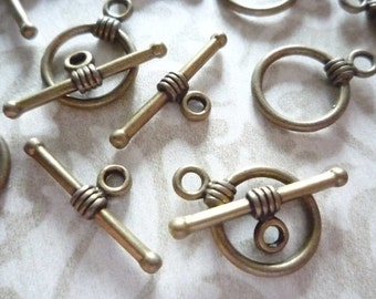 Antiqued Brass 11mm Toggle Clasps Qty 9 Sets