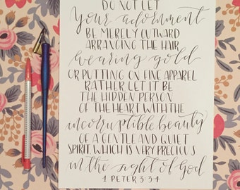 Calligraphy Print - 1 Peter 3:3-4