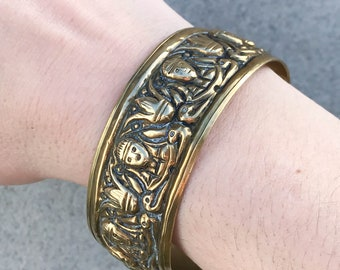 Antique Egyptial Revival Repoussé Brass Bangle, with Naive Figures, c.1920