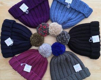 Adult pompom hat, mans pompom hat, ladies Pompom Hat, Medium adult hat, crochet pompom hat, bobble hat, ladies bobble hat, mans bobble hat