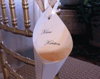 Ivory Matte  Card stock Elegant Cones with Ivory Ribbon with  Hanging Tags