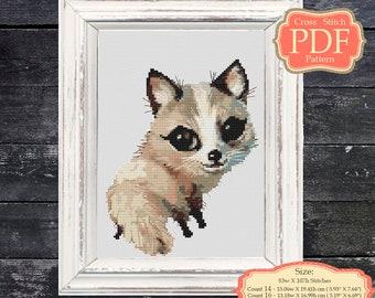 Woodland  Animals - White fox - Cross Stitch PDF Pattern - Nursery Art