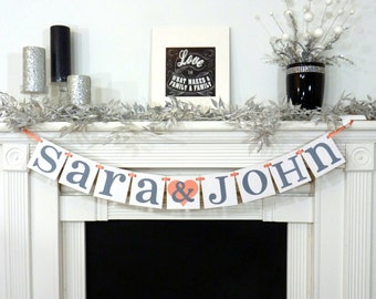 Wedding Garland / Custom Names Banner / Wedding Banner / Couples Shower / Photo Prop / Engagement Party / Wedding Decorations / Coral / Grey