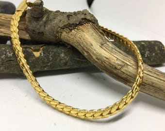Italian Gold Plated Bracelet with Hammer Finish 7""