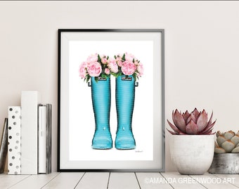 Blue, wellie boots, with flowers, rain boots, fashion illustration, Watercolor, Peony, fashion, peonies, Gift, Mothers day, flowers, gallery