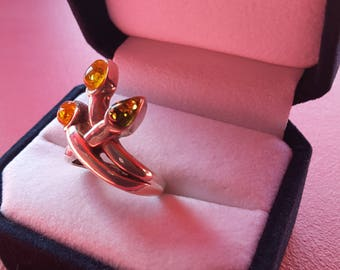 925 sterling silver ring and 3 amber - green, cognac, honey, yellow gold - gift - Present - anniversary - Valentine's day