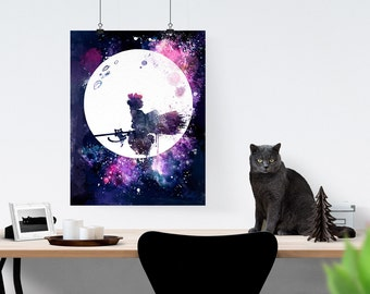 Kiki's Delivery Service  Flying Near The Moon With Jiji Watercolor Poster Studio Ghibli