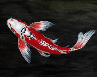 Butterfly koi print from my original painting.
