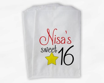 Sweet 16 Birthday Personalized Candy Buffet Bags - Red Black Yellow Star Custom Favor Bags - 25 Paper Treat Bags (0081)