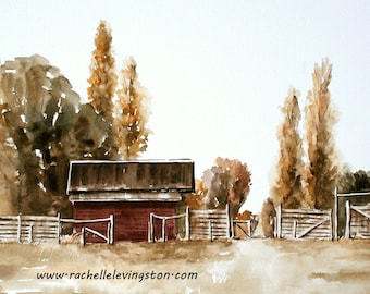 large landscape painting barn watercolor painting barn painting watercolor painting of red barn PRINT SET red barn painting Art print 11x14