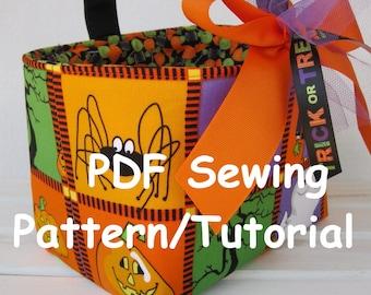 PDF Sewing Pattern/Tutorial  - Halloween Candy Basket - Fabric Organizer Bin - Easter Basket