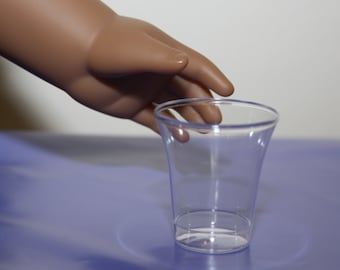 """Set of 10 Clear Drinking Cups for 18"""" Dolls Perfect for American Girl Size Kitchen Accessories"""