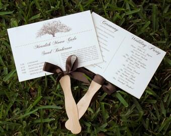 Rustic Oak Tree Wedding Program Fans