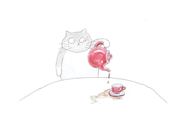 Gray Cat with Red Teapot