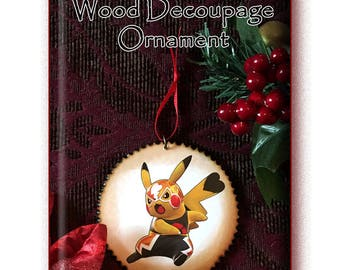 Pokemon 'Pikachu El Luchador' Wood Ornament, 3 inch Decoupage Disc, with wood burned edges
