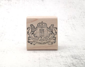 The Whovian Royal Crest Stamp - Doctor Sci Fi Pen Pal Stamp - Vintage Inspired Who Stationary