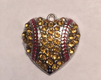 Sale! Sale!Crystal heart softball pendant  *New*   Clearence sale....
