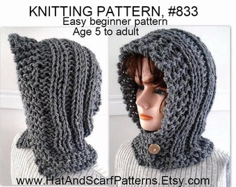 KNITTING PATTERN - Hectanooga Hood, Easy Beginner Pattern, Age 5 to Adult, Cable Knit Hood, Button up, Women and girls #833