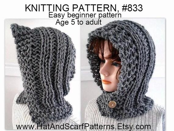 Knitting Pattern Hectanooga Hood Easy Beginner Pattern Age