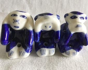 Hear No Evil, See No Evil, Speak No Evil, Miniature Monkeys, Delft Blue, Cheeky Monkey, Wise Monkeys