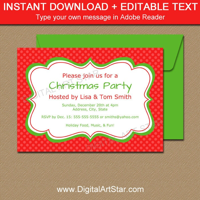 EDITABLE Christmas Invitation Holiday Invitation Printable