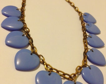 Blue Heart Celluloid 30's Necklace