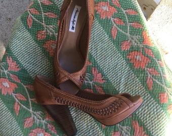 Brown peep-toe high heels