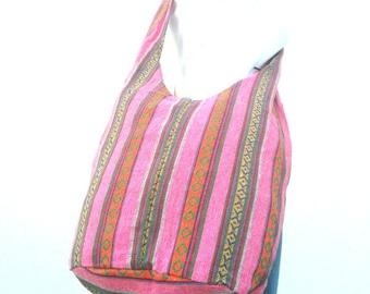 Sling Bag Hobo Bag Boho Bag Hippie Bag Crossbody Bag Bohemian Bag Shoulder Bag Messenger Bag Pink Color Bag Thai Hippie Gift Bag Handbags