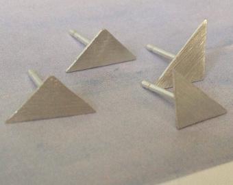Small Triangle Stud Earrings, Triangle Earrings, Sterling Silver Earrings, Studs,  Minimalist Earrings