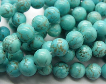 50, 8 mm blue natural turquoise