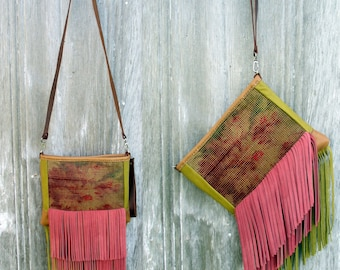 Leather Clutch or Cross Body Bag Carpetbag in Vintage Floral Carpet with Chartreuse and Pink Fringe with Detachable Strap by Stacy Leigh