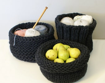 DIY Knitting PATTERN - Chunky Knit Baskets (2014025): chunky knit, knit basket, knit, oversized knit, knitting patterns, knitted, knit bowl