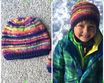 Rainbow Hat~ toddler or small child~ hand knit ~ handspan ~ merino