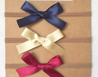 Grosgrain or Satin Bow Nylon Headband | Baby Bow | Baby Headband | Choose your color | Kristy bow