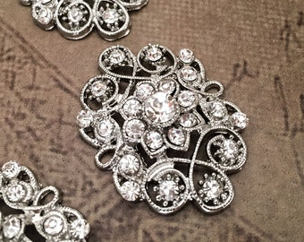 5 Vintage Rhinestone Buttons Vintage Buttons Victorian Button Crystal Buttons DIY Wedding Supplies DIY Bridal Brooch Bouquet Cake Decoration