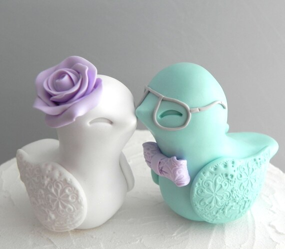 Love Bird Wedding Cake Topper, Lilac, Aqua and White with Gray Glasses, Bride and Groom Keepsake, Fully Custom