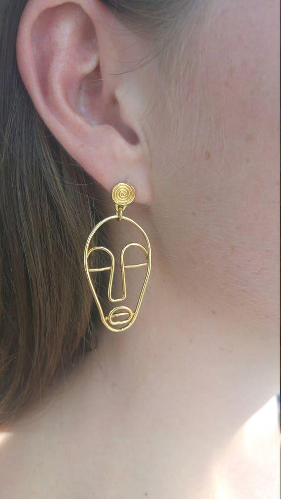 Draht Gesicht Ohrringe Absract Gesicht Ohrringe einzelne